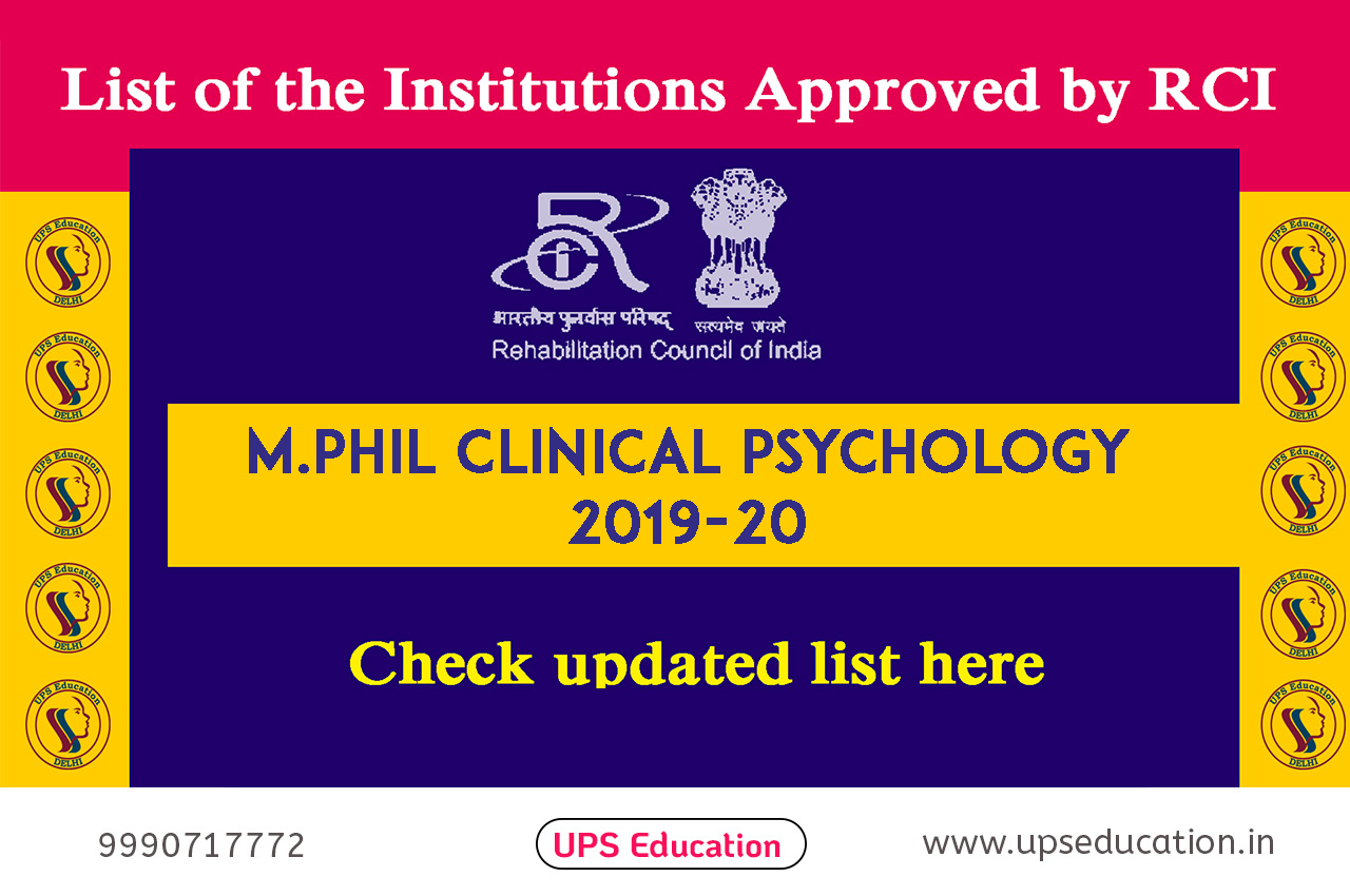 RCI APPROVED M.PHIL CLINICAL PSYCHOLOGY INSTITUTES