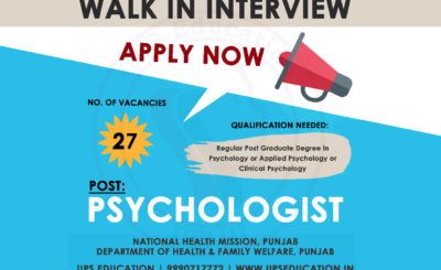 Psychologist vacancy in Punjab