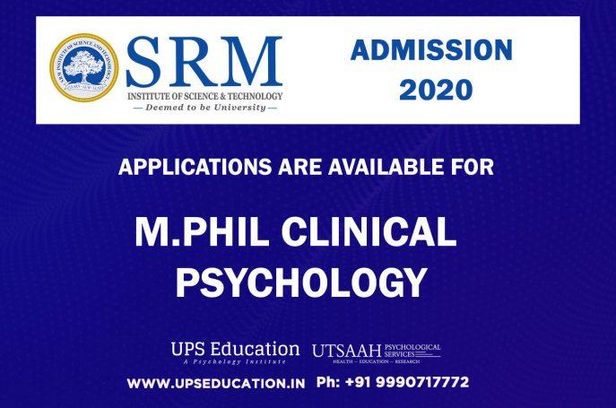SRM MPhil Clinical Psychology Admission 2020