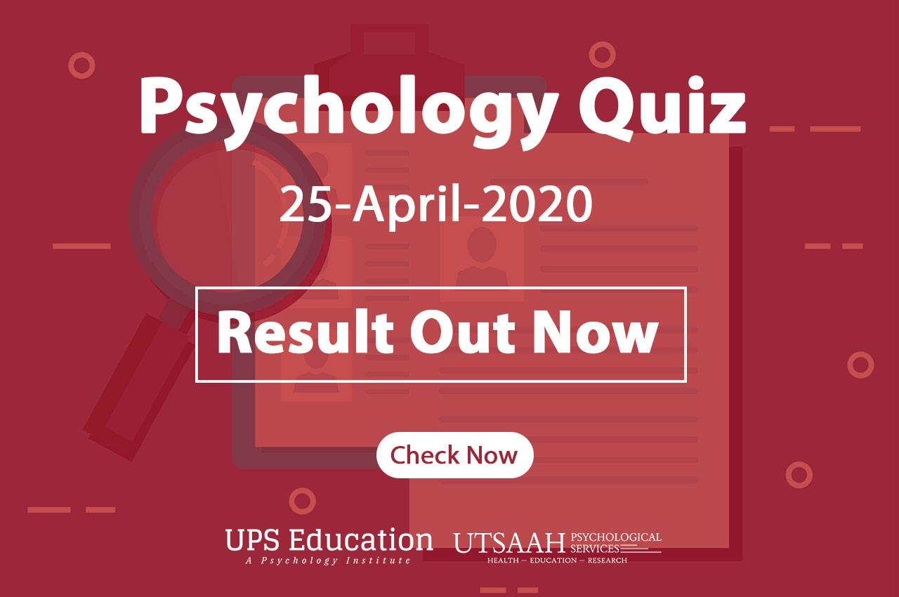 Psychology Quiz Result 2020