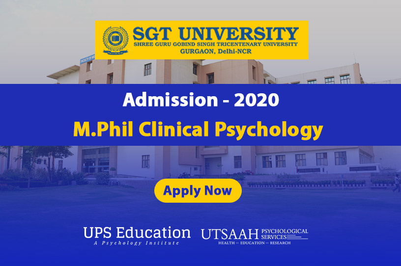 SGT University MPhil Clinical Psychology admission 2020