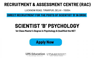 DRDO Psychology Scientist B Vacancy 2020