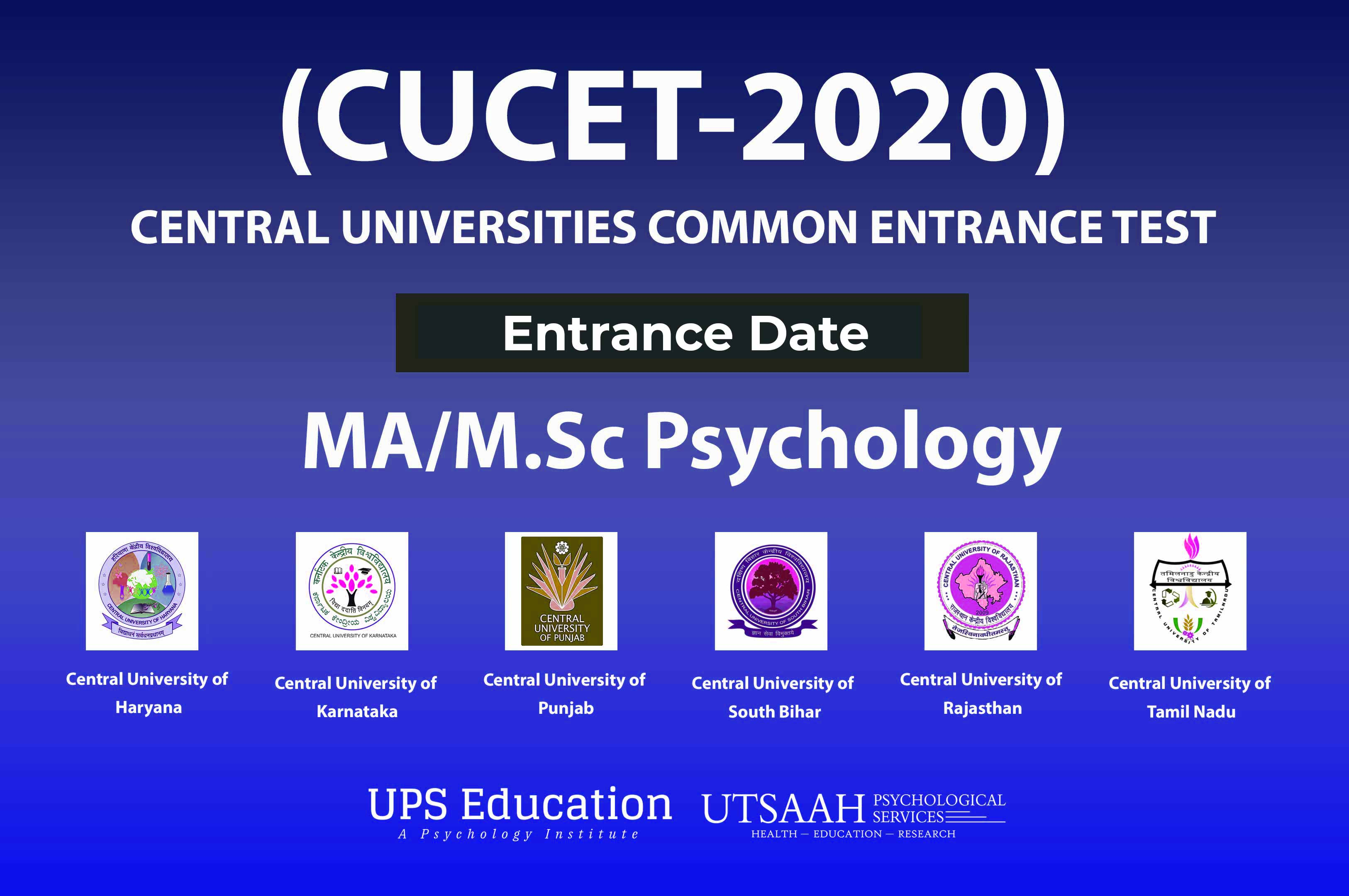 Central Universities (CUCET-20) MA Psychology Entrance Date out