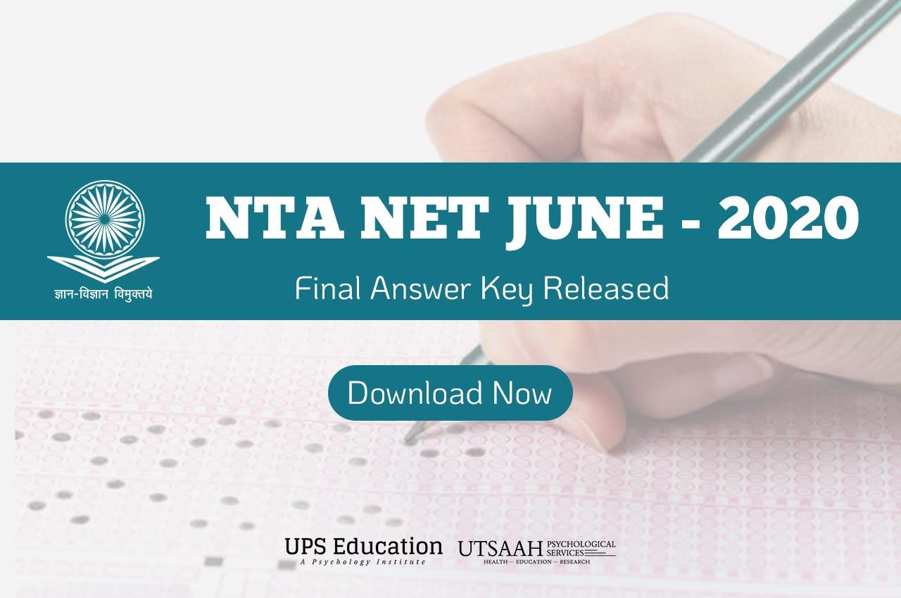 NTA declared Final Answer Keys of UGC-NET June
