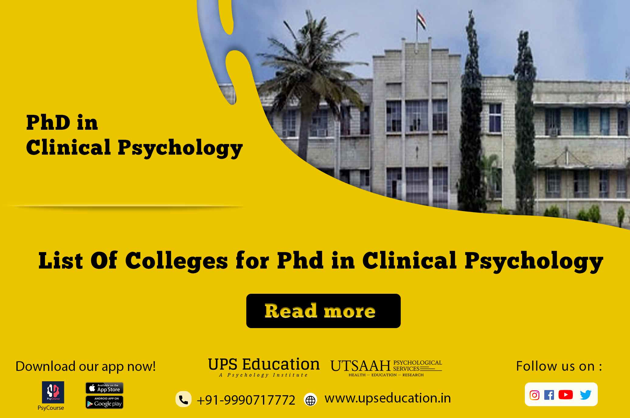 list of Phd in clinical psychology colleges in india