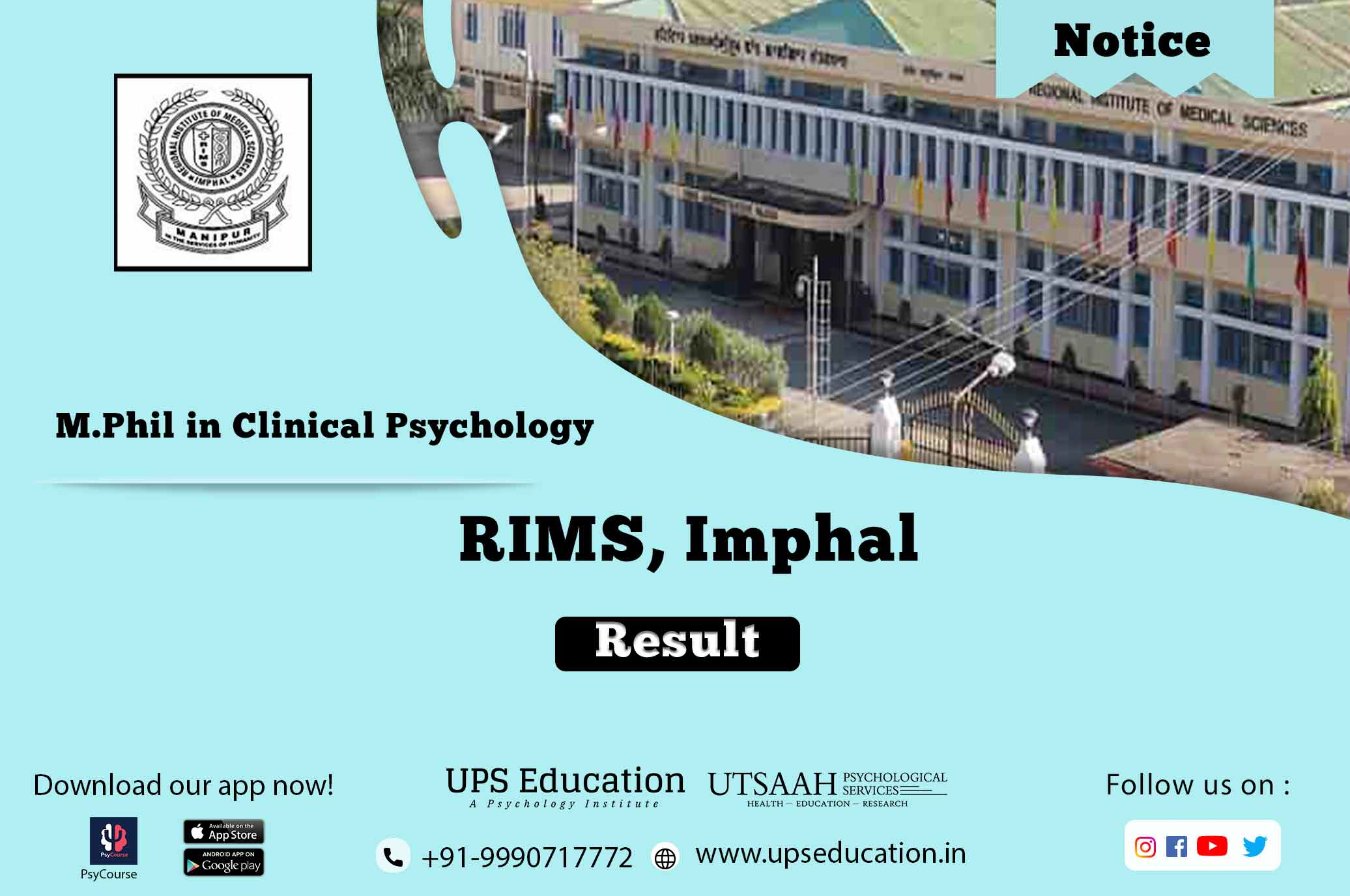 RIMS Imphal M.Phil in Clinical Psychology result