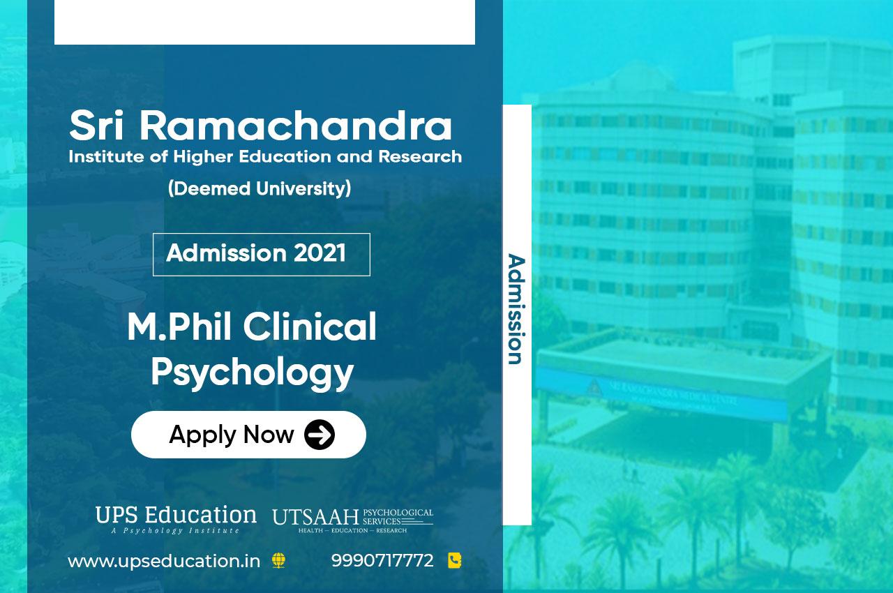 Sri Ramachandra M.Phil Clinical Psychology Entrance 2021