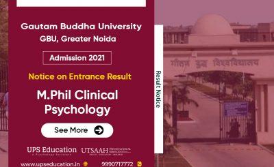 Gautam Buddha University M.Phil Clinical Psychology Entrance Result 2021
