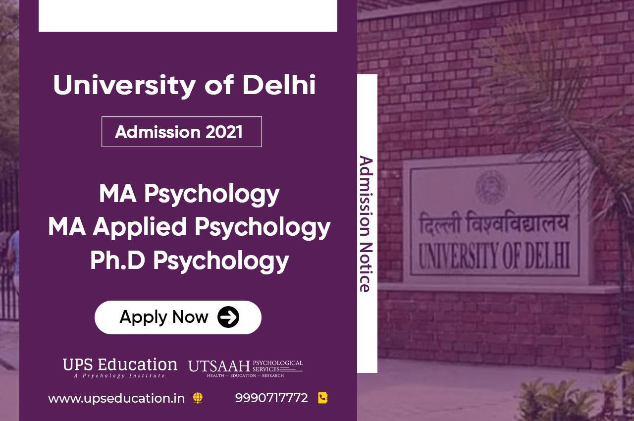 Delhi University MA/Ph.D Psychology Admission Open for 2021 Session – UPS Education