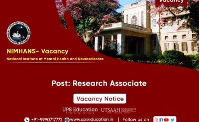 Research Associate Vacancy in NIMHANS, Bangalore 2021