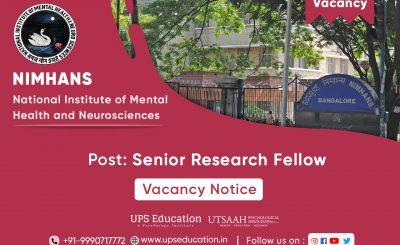 Senior Research Fellow Vacancy in NIMHANS Bengaluru 2021