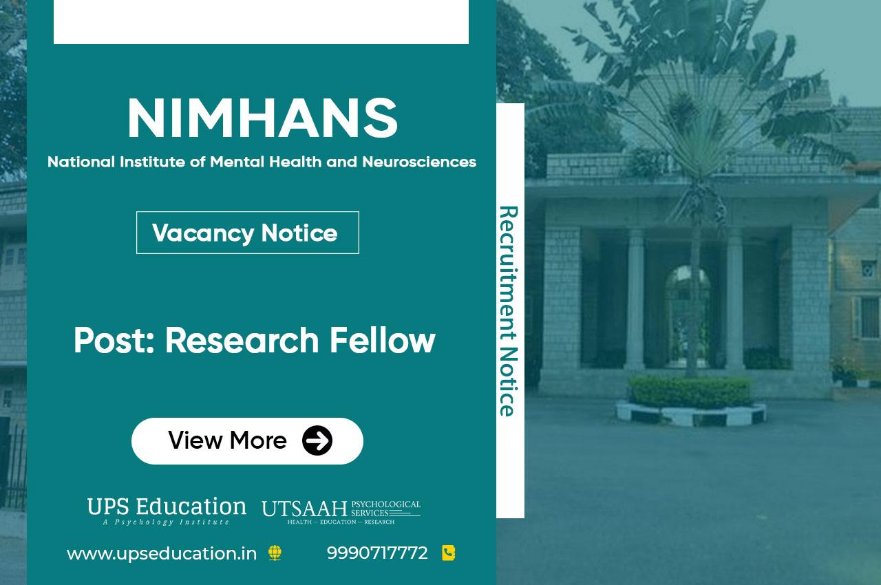 Research Fellow Vacancy in NIMHANS Bengaluru 2021