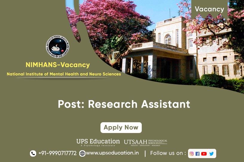 Research Assistant Vacancy in NIMHANS Bengaluru 2021