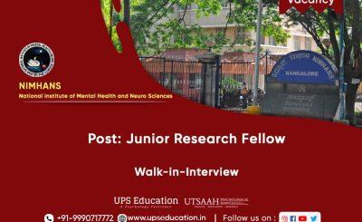 Junior Research Fellow Vacancy in NIMHANS, Bengaluru 2021—UPS Education