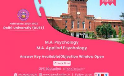 DUET MA psychology & MA Applied Psychology Answer key/Objection window Open 2021—UPS Education