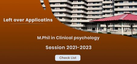 M.Phil Clinical Psychology Entrance leftover applications for session 2021